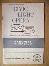 1962 Curran Theatre Programme:Anna Maria Alberghetti in CARNIVAL - David Merrick