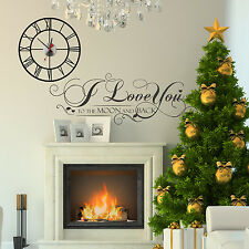 Holidays Decoration Mural Christmas Wall Stickers Quote Home Clock 100cm x 95cm