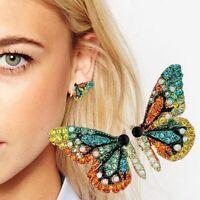 Damen Mehrfarbige Strass Schmetterling Ohrstecker Ohrringe Party Schmuck Neu