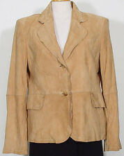 Ellen Tracy Beige Suede Jacket w/ Scalloped & Perforated Trim - Size 12 - NWOT
