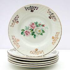 Vintage Barratts Floral Pink Roses Set 6 Tea Plates