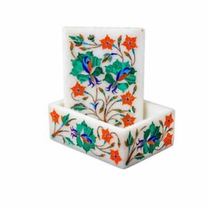 Marble handmade Jewelry Box Semi Precious Stones floral inlay