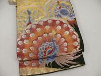 Vintage Black Silk Japanese ROKUTSUU FUKURO OBI w/Peacocks C151