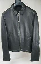 Haider Ackermann Black Leather Men's Jacket White Stitching Size Medium