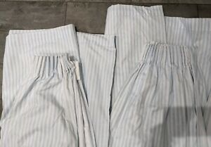 Kiddicare baby blue & white stripey pair of curtains (size approx 168 x 137cm)