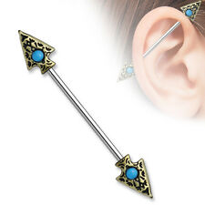 """Tribal Spear Turquoise Set Industrial Barbell Scaffold Piercing 14g 1.5"""""""