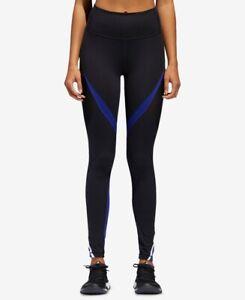 adidas Womens Colorblocked High-Rise Leggings Black/Real Purple XS