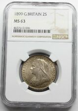 NGC MS63 UK GREAT Britain 1899 VICTORIA TWO 2 SHILLINGS 1 FLORIN SILVER COIN UNC