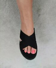 Ladies Chunky Slip On Sandals Size 5 Black Sliders Platform EspreSole