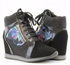Women Lace Up Wedge Sneaker Ankle Boots Shinny Glitter MultiColors Graffiti Shoe