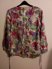 SPIRIT M&Co size 14 pink purple green white long sleeve floral blouse VGC