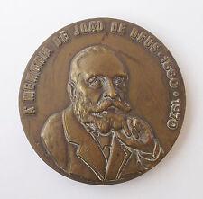 """PORTUGUESE """"IN MEMORY OF JOAO DE DEUS - 1830-1970"""" BRONZE MEDAL BY INACIO SANTOS"""
