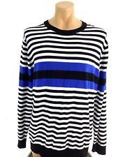 NWT CLAIBORNE MENS BLACK BLUE & WHITE STRIPED COTTON CREW NECK SWEATER SIZE XL