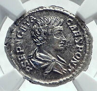 GETA as Caesar Authentic Ancient 200AD Silver Roman Coin NOBILITAS NGC i81653