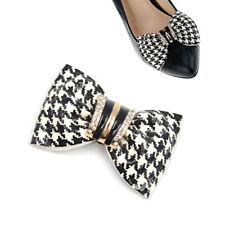 1 Pc Women Black White Check Bow High-Heel Shoe Clips Wedding Bridal Crystal