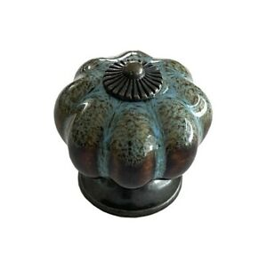 Antique Blue Ceramic Door Knobs Vintage Pumpkin Style Cabinet Drawer Pulls