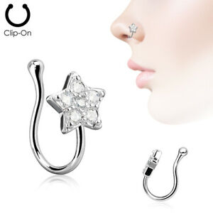 5MM Star Paved CZ Nose Hoop Ring No Piercing Clip On Multi Clear CZ CL11