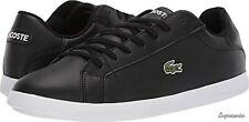Lacoste Mens Black Leather Graduate Sneakers Size 10 M