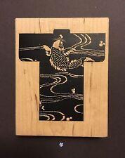 Limited Edition Japanese Kimono Robe Asian Oriental Koi Fish Pond Rubber Stamp