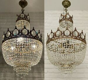 Matching Pair of Antique Vintage Brass & Crystals LARGE Chandeliers Ceiling Lamp