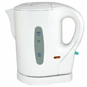 KINGAVON SMALL LOW WATTAGE WHITE 1 LITRE 900W MINI CORDLESS TRAVEL JUG KETTLE