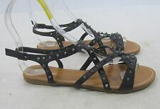 Summer Black Spikes Shoes Roman Gladiator Flat Sandals Size 7
