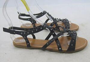 NEW Summer Black Spikes Shoes Roman Gladiator Flat Sandals  WOMEN Size 7