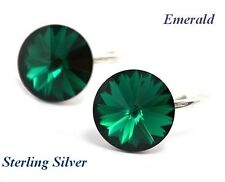 *STERLING SILVER* - RIVOLI - Emerald Earrings made with SWAROVSKI Crystals
