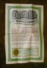 Apr 24 1924 the Central Life Insurance Co. Topeka Kansas Policy w/All 19 Coupons
