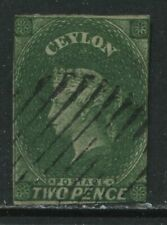 Ceylon QV 1857 2d green used