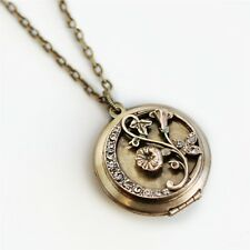 "NEW SWEET ROMANCE MORNING GLORY LOCKET NECKLACE ~~MADE IN USA~~ 32"" LONG"
