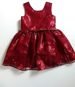 Girl's Sleeveless Layered Satin & Net Effect Party Dress- Red- Age 4 Years- NEW