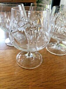 Set of 6 Vintage Cut Glass Lead Crystal Brandy Glasses VGC No Chips Or Cracks