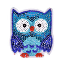 Owl Sequins Iron On Patches Sew-on Embroidered Motif Applique For Clothing RS