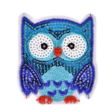 Owl Sequins Iron On Patches Sew-on Embroidered Motif Applique For Clothing HGUK