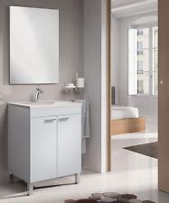 Mueble Baño de 60 cm. dos puertas con espejo y lavabo blanco brillo