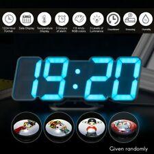 Modern Digital 3D Led Wall Clock Alarm Snooze Calendar Usb Sound