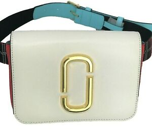 New/tag $350. Marc Jacobs Hip Shot Belt Bag/Clutch. White, Blue and Red. Belted