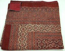 Indian red ajrak hand block kantha quilt cotton blanket bedspread Queen size