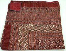 Indian red ajrak hand block kantha quilt cotton blanket bedspread Queen size