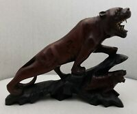 Antique Wood Carved Chinese Tigers Statue Redwood Vintage Glass Eyes RARE