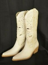 Vintage Slinger Cowboy Boots Womens Unique Cream Leather 6.5M