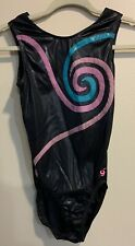 Gk Elite Gymnastics Leotard - Adult Xl Shiny Black & Multicolored Design Euc
