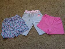 Girl's sz 6 cotton, elastic waist shorts EUC (3 pairs) pink, gray, & floral blue
