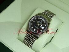 Rolex Day-Date President 18kt White Gold Fluted Bezel Black Diamond Dial 118239