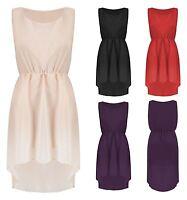 Womens Fish Tail Back High Low Mini Dress Ladies Sleeveless Chiffon Casual Top