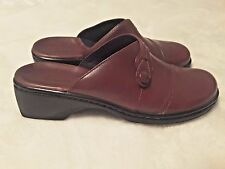 Clarks Leather Burgundy Clogs Mules Shoes Women's 6M