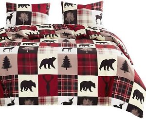 Wake In Cloud - Rustic Patchwork Comforter Set, Christmas Lodge Red and Black Be