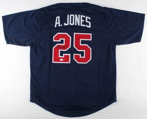 "Andruw Jones Signed Atlanta Braves ""Curacao Kid"" Blue Throwback Jersey (JSA COA)"