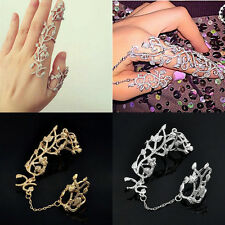 NEW Fashion Punk Rock Gothic Gold Double Full Finger Knuckle Armor Ring